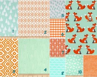 Orange fox  mint -   Crib bedding set -  Design your own 3 pcs. SET Custom crib Bedding