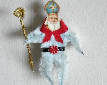 Chenille Saint Nicholas Figure Christmas Ornament