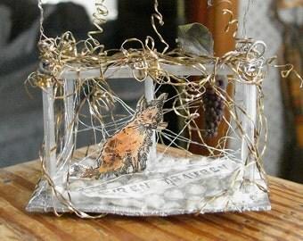 Fox Sour Grapes German Sebnitz Christmas Ornament