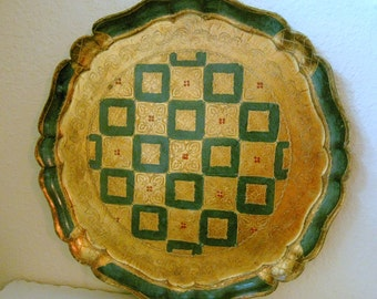 Italian Florentine Paper Mache Green and Gold Large Round Tray