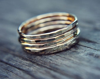 Gold filled stacking ring - hammered stacking ring ring - gold fill - simple band - minimalist