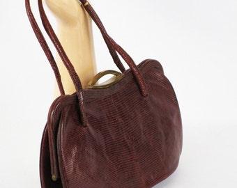 Vintage 1950s Petite Brown Lizard Handbag Purse
