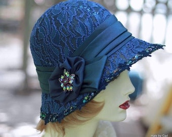 20's Cloche Hat Evening Wedding Formal Fancy Dressy Blue Lace Sequins