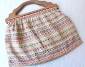 vintage wood handle bag / cloth top handle bag / boho sewing bag
