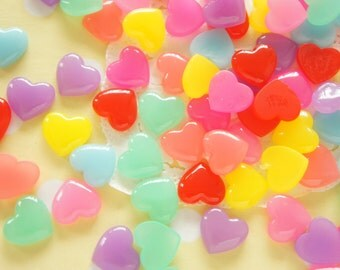 8 Pairs (16pcs) Glossy Puffy Heart Cabochon (12mm13mm) IK139 (((LAST/no restock)))