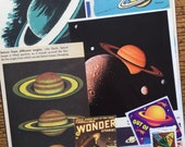 Rings of Saturn Vintage Outer Space Planet Collage, Scrapbook and Planner Kit Number 1913