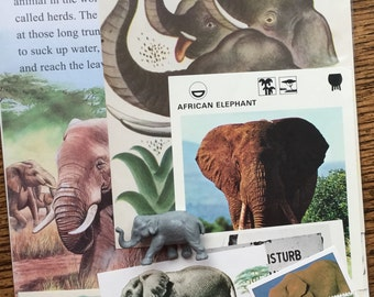 E is for Elephant Vintage African Safari Collage, Scrapbook and Planner Kit Number 1909