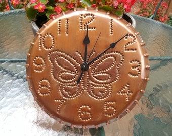 Butterfly Copper Clock 10 Inch By Larry West