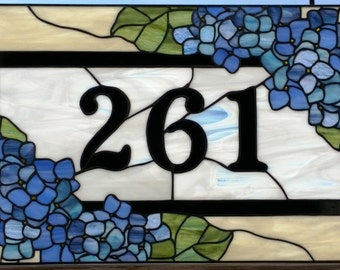 "Stained Glass Transom - ""Blue Hydrangeas"" (TW-63)"