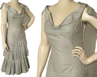 Vintage 50s Dress Checkered Plaid Gray & White Cotton Sundress M