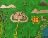 Medieval Castles Original Painting Acrylic Modern Primitive Autism Art SIMO