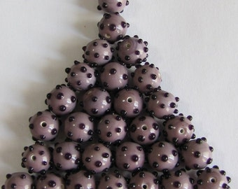29  Vintage Glass, 10mm Round Lavender with Black Polka Dot, Bumpy Beads, Black Dots, Britz Beads Supply