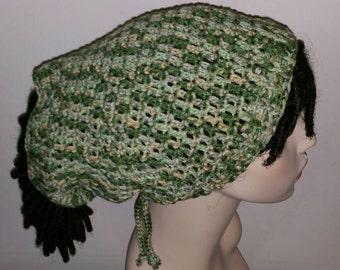 Shades of Green and Tan Dread Sock Tam/Winter Hat
