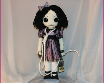OOAk Hand Stitched Sad Rag Doll Creepy Gothic Folk Art By Jodi Cain Tattered Rags