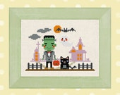 Frankenstein goes trick-or-treating. Cute Halloween Cross Stitch Pattern. PDF Instant Download