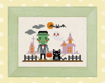 Frankenstein goes trick-or-treating. Cute Modern Simple Halloween Cross Stitch Pattern. PDF Instant Download