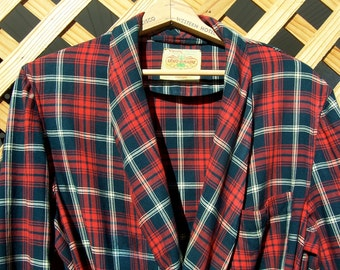 Vintage TARTAN PLAID Wool Robe State O Maine Large Reds Euc