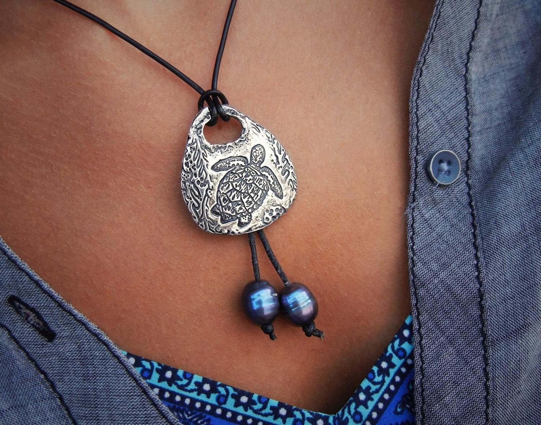 Sea Turtle Jewelry Sea Turtle Necklace Leather Necklace