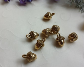 Fall Selected -- 8 pieces of SMALL Acorn Charms in Antique Gold Color  -- 12 x 8 mm