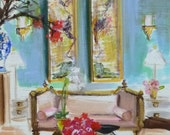 Chinoiserie Print, Interiors Paintings, Furniture, Ginger Jar, Asian Mural, Gorgeous Colors, Pink, French Settee, Print of Original Painting