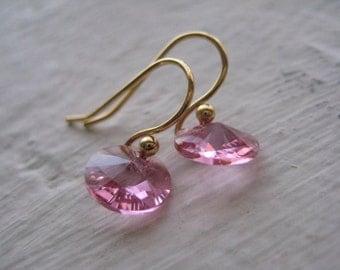 Rose Earrings- Gold, Swarovski, Crystal, Gift, Wire, Dangle, Delicate