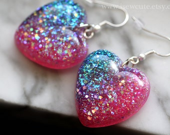 Heart Shaped Resin Dangle Earrings - Sunset Inspired Sparkles, Ombre Blue Lavender Pink Heart Dangle Resin Earrings by isewcute