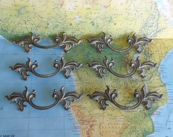 SALE! 6 mid century ornate distressed brass metal French Provincial handles