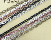 10 OVAL Link ROLO Silver Shiny Plated  Chains 24 inches Necklaces 2mm Lobster Claw Black Antique Silver Copper Brass