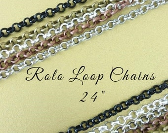 20 ROLO  Loop Chains 24 inches Necklaces 2mm Lobster Claw Silver Plated Black Antique Brass Copper