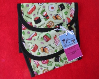 Sushi Please Reusable Lunch Bag Set of 2 - Snack and Sandwich Size