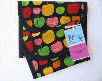 Back to School Apples Reusable Lunch Bag Set of 2 - Snack and Sandwich Size