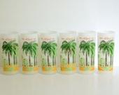 Mid Century Florida Royal Palm Tree Glasses - St Mortiz Hotel Miami Beach