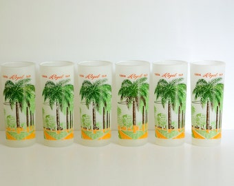 Mid Century Florida Royal Palm Tree Glasses - St Mortiz Hotel Miami Beach