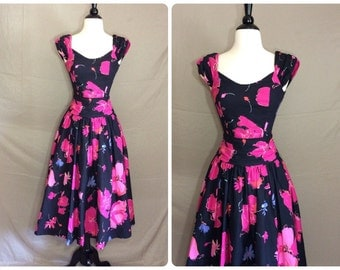 Vntg 80s Laura Ashley Black/Pink Floral Tea Party Dress