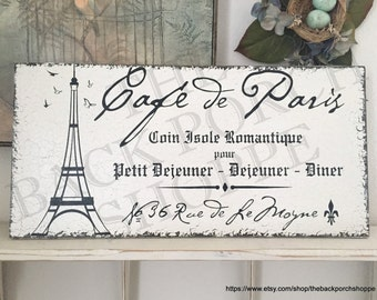 FRENCH Signs, French Cafe, Paris Cafe, Eiffel Tower, French Kitchen Signs, Kitchen Signs,| 12 x 24