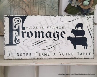FRENCH Signs | FROMAGE | French Cheese Sign | Kitchen Signs | 12 x 24