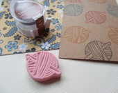 Ball of Yarn with Crochet Hook - Hand Carved Rubber Stamp