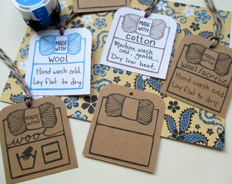 Yarn Care Tag Outline - Hand Carved Rubber Stamp