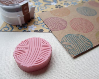 Small Ball of Yarn - Hand Carved Rubber Stamp