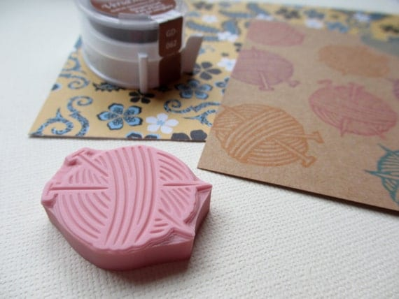 Ball of Yarn with Knitting Needles - Hand Carved Rubber Stamp