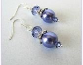 Purple Pearl Earrings, Celestial Pearls, Tanzanite Crystal, Dangle Earrings, Wedding Earrings, Bridesmaid  Earrings, Stainless  Steel  Wires