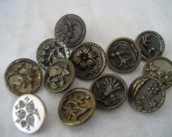 Lot of 12 ANTIQUE Small Metal Flower BUTTONS