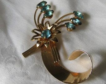 VINTAGE Blue Rhinestone & Metal Flower Swirl Costume JEWELRY Brooch