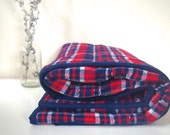 Modern Baby Boy Quilt | Cozy Plaid Flannel Quilt | Red and Blue Boy Blanket