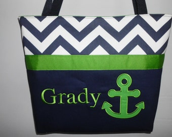Personalized .. ANCHOR  .. TOTE ... DIAPER Bag .. Applique   ...  Personalized Free