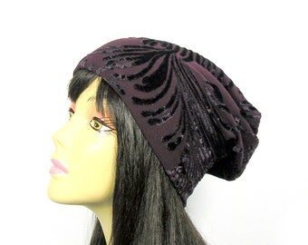 Burgundy Slouch Hats Boho Burgundy Slouchy Hat Bohemian Slouch Hat Beanies for Hair Loss Burgundy Hat for Hair Loss Beanie Black Slouchy Hat