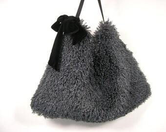 FREE SHIPPING Gray Faux Fur Hobo Bag Vegan Fur Slate Gray Faux Fur Bag Fur Hobo Bag Faux Fur Purse Fake Fur Shoulder Bag Faux Fur