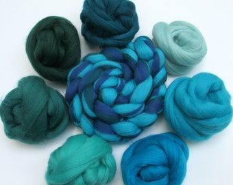 Choose Your Color: 100 gm of Fine Merino Combed Top in Blue-Green Shades for Spinning, Felting