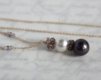 Tahitian Pearl Necklace - TWO AAA Round Natural Pearls with Spinel in 14K Solid Gold - One of A Kind Elegance