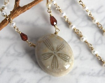 Fossil Urchin Necklace - Sea Urchin with Pearls and Garnets in Gold
